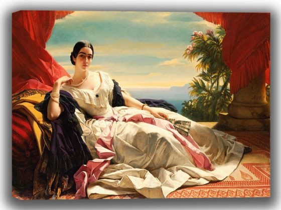 Winterhalter, Franz Xaver: Portrait of Leonilla, Princess of Sayn-Wittgenstein-Sayn. Fine Art Canvas. Sizes: A4/A3/A2/A1 (0058)